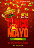 Cinco de Mayo poster. Design template with lettering, and cheerful red pepper jalapeno in sombrero and with maracas - symbols of holiday. Vector illustration