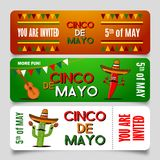 Cinco de Mayo poster design template with lettering, flaming red pepper jalapeno and sombrero - symbols of holiday. EPS. Cinco de Mayo poster design template Stock Photography