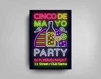 Cinco De Mayo Poster en el estilo de neón Diseñe la invitación del aviador de la plantilla a celebrar a Cinco de Mayo, estilo del libre illustration