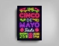 Cinco De Mayo Poster en el estilo de neón Diseñe la invitación del aviador de la plantilla a celebrar a Cinco de Mayo, estilo del stock de ilustración