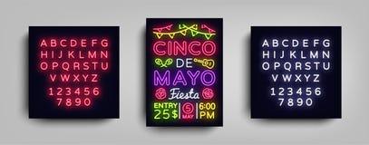 Cinco De Mayo Poster en el estilo de neón Diseñe la invitación del aviador de la plantilla a celebrar a Cinco de Mayo, luz de la  libre illustration