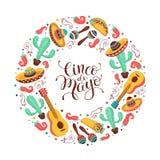 Cinco de Mayo poster. Cinco de Mayo greeting card in circle shape. Mexican culture attributes collection. Cinco de Mayo poster with guitar, sombrero, maracas stock illustration