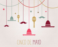 Cinco De Mayo poster. Hanging colorful sombrero, maracas and mustache Stock Image