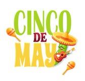 Cinco de Mayo Poster met Komkommer en Sombrero stock illustratie