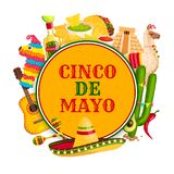 Cinco de Mayo poster with mexican holiday symbols. Cinco de Mayo festival poster with mexican holiday symbols. Sombrero hat, chili pepper and maracas, tequila Royalty Free Stock Photography