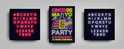 Cinco De Mayo Poster in neon style. Design Template Flyer invitation to celebrate Cinco de Mayo, banner light. Typography Mexican Fiesta celebration party royalty free illustration