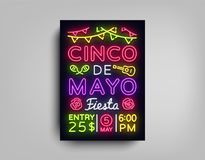 Cinco De Mayo Poster in neon style. Design Template Flyer invitation to celebrate Cinco de Mayo, brochure neon style. Banner light, typography Mexican Fiesta stock illustration