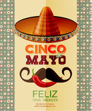 Cinco de Mayo. Poster with sombrero, chili, Mexican mustache Royalty Free Stock Images