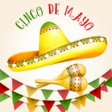 Cinco de Mayo poster with sombrero and maracas. Party triangle bunting flags vector illustration