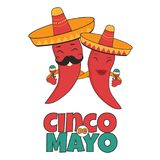 Cinco De Mayo poster bright characters royalty free illustration