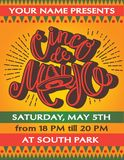Cinco De Mayo poster template with hand drawn lettering, royalty free illustration