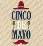 Cinco De Mayo poster. Wooden background. Vector illustration Royalty Free Stock Images