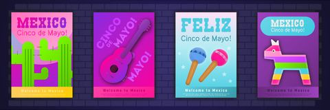 Cinco de Mayo Posters Set illustrazione di stock