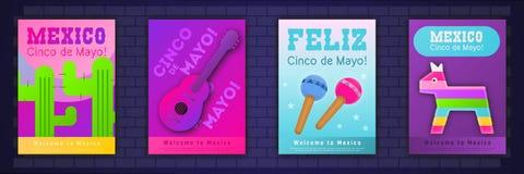 Cinco de Mayo Posters Set stock de ilustración
