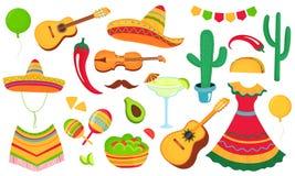 cinco de Mayo Projekt plakat, sztandar, ulotka dla Meksykańskiego wakacje Instrumenty muzyczni, lokalny jedzenie, odziewa ilustracja wektor