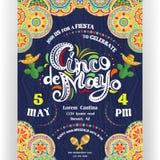 Cinco De Mayo que anuncia o molde do cartaz