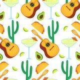 Cinco De Mayo quinto maggio Guitarrone, cactus, taco, avocado, margarita - clipart alla festa messicana nazionale senza cuciture royalty illustrazione gratis