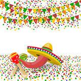 Cinco de Mayo. Red pepper, maracas, sombreros. Confetti and festive flags. illustration. Cinco de Mayo. Red pepper, maracas, sombreros. Confetti and festive Royalty Free Stock Image