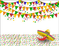 Cinco de Mayo. Red pepper in the shadow of a sombrero. Confetti. illustration. Cinco de Mayo. Red pepper in the shadow of a sombrero. Confetti. Vector Stock Image