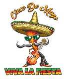 Cinco de Mayo Retro Holiday Poster. Mexican Holiday Cinco de Mayo Retro Poster with Pepper in Sombrero plays a guitar and spanish slogan Viva la fiesta what stock illustration