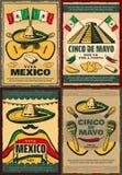 Cinco de Mayo retro poster of mexican holiday. Cinco de Mayo retro poster set for mexican holiday fiesta party invitation. Sombrero, maracas and guitar, chili Royalty Free Stock Photos
