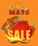 cinco de mayo Sale affisch Arkivbild
