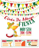 Cinco de Mayo sale bunting and coupon marketing template. royalty free illustration