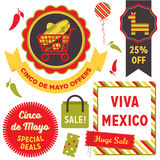 Cinco De Mayo Sale clip art. Badges, banners, graphic elements and labels advertising a Cinco de Mayo Mexican Holiday sale