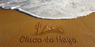 Cinco De Mayo Sand Wave Beach Text. Photo image stock image