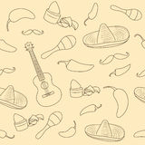 Cinco de Mayo seamless pattern with mexican culture attributes. Hand drawn pattern. Mexican background with guitar Stock Image
