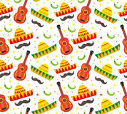 Cinco de Mayo seamless pattern. Mexican holiday endless background, texture. Vector illustration. Royalty Free Stock Photos