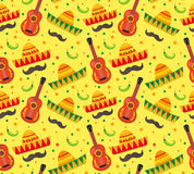 Cinco de Mayo seamless pattern. Mexican holiday endless background, texture. Vector illustration. Stock Image