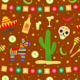 Cinco de Mayo seamless pattern. Mexican holiday endless background, texture. Vector illustration. Royalty Free Stock Images