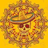 Cinco de Mayo Seamless Pattern. Skull in sombrero Day of The Dead