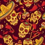 Cinco de Mayo Seamless Pattern. Skull in sombrero Day of The Dead