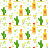 Cinco de Mayo seamless pattern with tequila and cactus. Mexican holiday endless background, texture. Vector illustration Royalty Free Stock Image