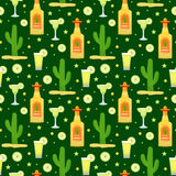 Cinco de Mayo seamless pattern with tequila and cactus. Mexican holiday endless background, texture. Vector illustration Stock Images