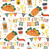Cinco de Mayo  seamless pattern with traditional Mexican symbols Royalty Free Stock Photography
