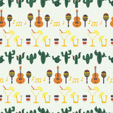 Cinco de Mayo  seamless pattern with traditional Mexican symbols Stock Photography