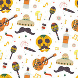 Cinco de Mayo  seamless pattern with traditional Mexican symbols Stock Images