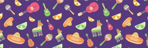 Cinco de Mayo Seamless Pattern voor festival in vlak Mexico, T-shirtdruk van kleurrijke symbolen voor Mexicaanse parade met stock illustratie
