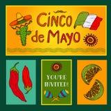 Cinco de Mayo set. Set of invitation card. Cinco de Mayo, traditional Mexican symbols. Vector