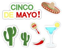 Cinco De Mayo. Set of stickers. Stock Images