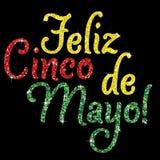 Cinco De Mayo!. Shiny iridescent glitter `Feliz Cinco de Mayo` text in vector format