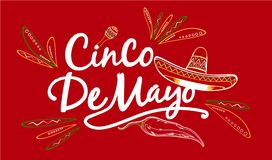 Cinco de Mayo sign. An illustrated Cinco de Mayo sign with a sombrero drawing on a red background Royalty Free Stock Photography