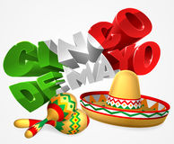 Cinco De Mayo Sign With Sombrero and Maracas Royalty Free Stock Photography