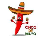 Cinco De Mayo sombrero, chili pepper, cactus and maracas festive design. For celebration of the Mexican holiday on May 5. Cinco De Mayo sombrero, chili pepper Stock Photo