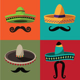 Cinco De Mayo sombrero and mustache poster. Cinco De Mayo poster, invitation, web page. Advertising template for Cinco de Mayo party or fiesta. EPS 10 vector Stock Images