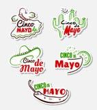Cinco De Mayo Stickers Set. Cinco De Mayo. Set of bright festive stickers with hand drawn symbols. Vector illustration Royalty Free Stock Image