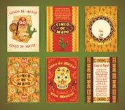 cinco de mayo Stor uppsättning av vektormallar med traditionella Mexi Royaltyfria Bilder
